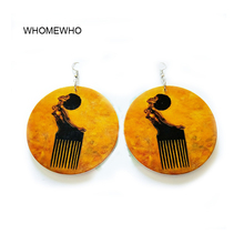 Brown Wood Round Africa Black Girl Hairstylist Comb Drop Earrings Retro Handmade Wooden African Indian Hiphop Ear Tribal Jewelry