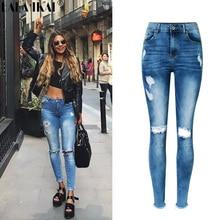 Womens Spring Distressed Jeans High Waist Ripped Tassel Denim Pants Girls Hole Washed Boyfriend Pants Trousers Ladies KWA0180-45