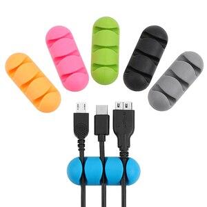 Image 5 - Voiture couverture pare soleil auto adhésif câble pince cravate fixateur câble organisateur ligne fermoir pince Silicone pour écouteurs USB câble