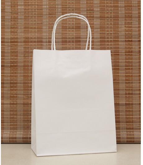 10 unids/lote color blanco bolsa de regalo de papel festival bolsa de papel con