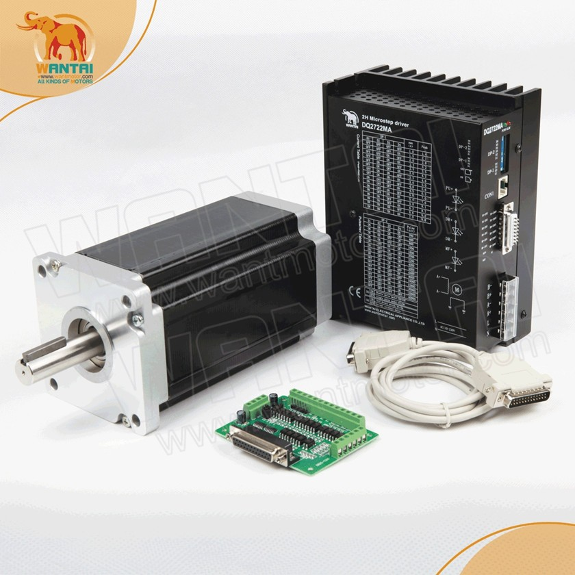 цена на Great Kit! CNC Wantai Nema42 Stepper Motor 110BYGH201-001 4200oz+Driver DQ2722M 220V 7.0A 300Micro Metal Embroidery Grind