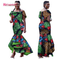Hitarget 2017 Autumn African dresses for women Dashiki Ankara Traditional Clothing Batik Wax Off the Shoulder Maxi Dress WY2102