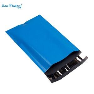 Image 2 - 100pcs 15x23cm 6x9 אינץ כחול צבע פולי הדיוורים עצמי חותם פלסטיק תיקי מעטפת