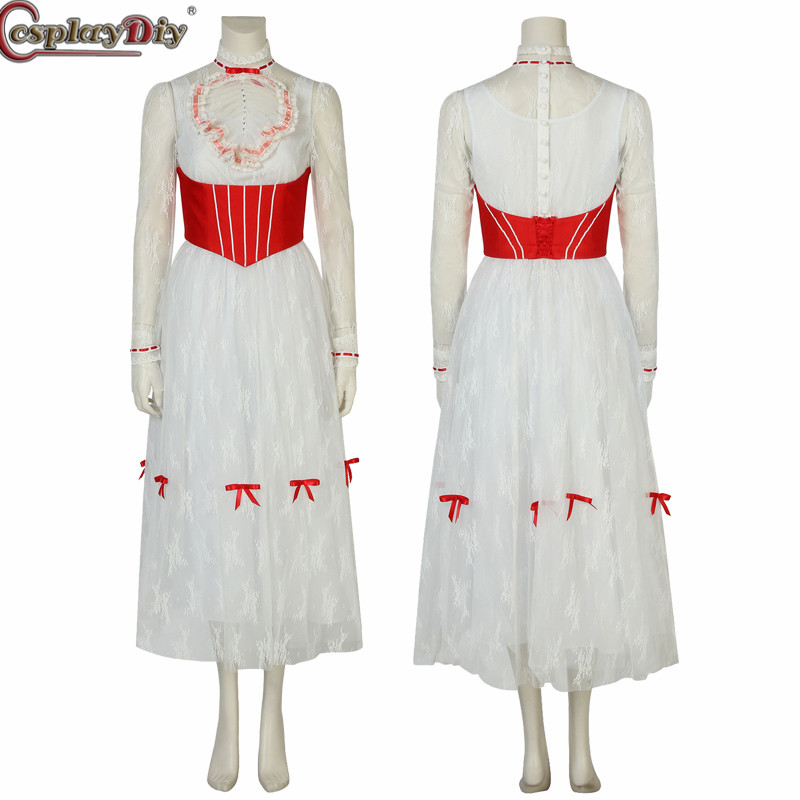 Cosplaydiy Mary Poppins Cosplay Princess Dress Women Dance Party Wedding White Dress Halloween Costume Custom Made