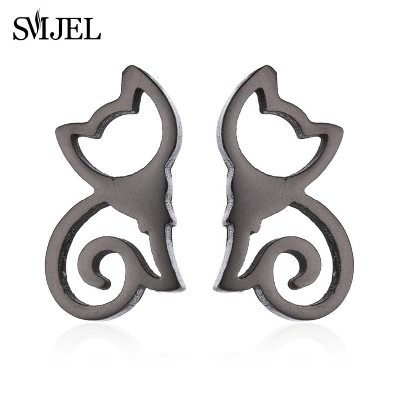 SMJEL Fashion Cute Animal Stud Earrings for Women Kids Stainless Steel Jewelry Cat Moon Star Earings Jewelry Accessories Gifts