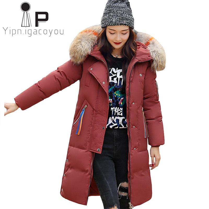 Winter Jacket Women Long Parka Big Fur Collar Hooded Overcoat Female Plus size Black Coat Women