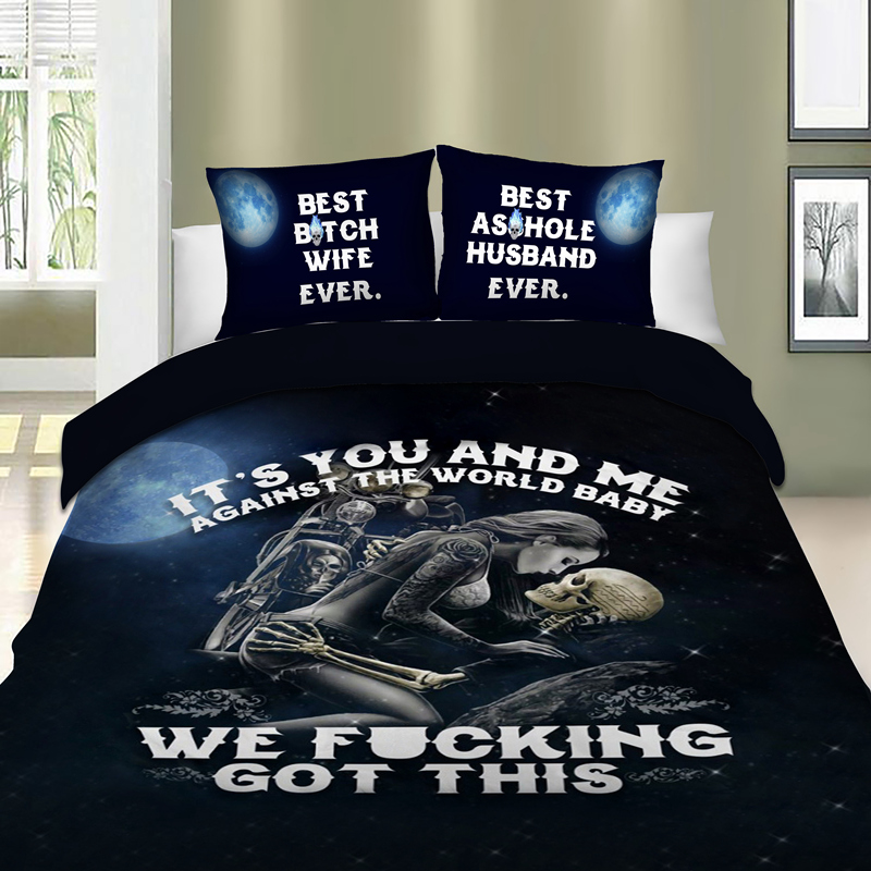 Drop Shipping 3pcs 3D Bedding Set Skull Angel Duvet Cover Pillowcase Beauty Kiss Skull Bed Linen Set