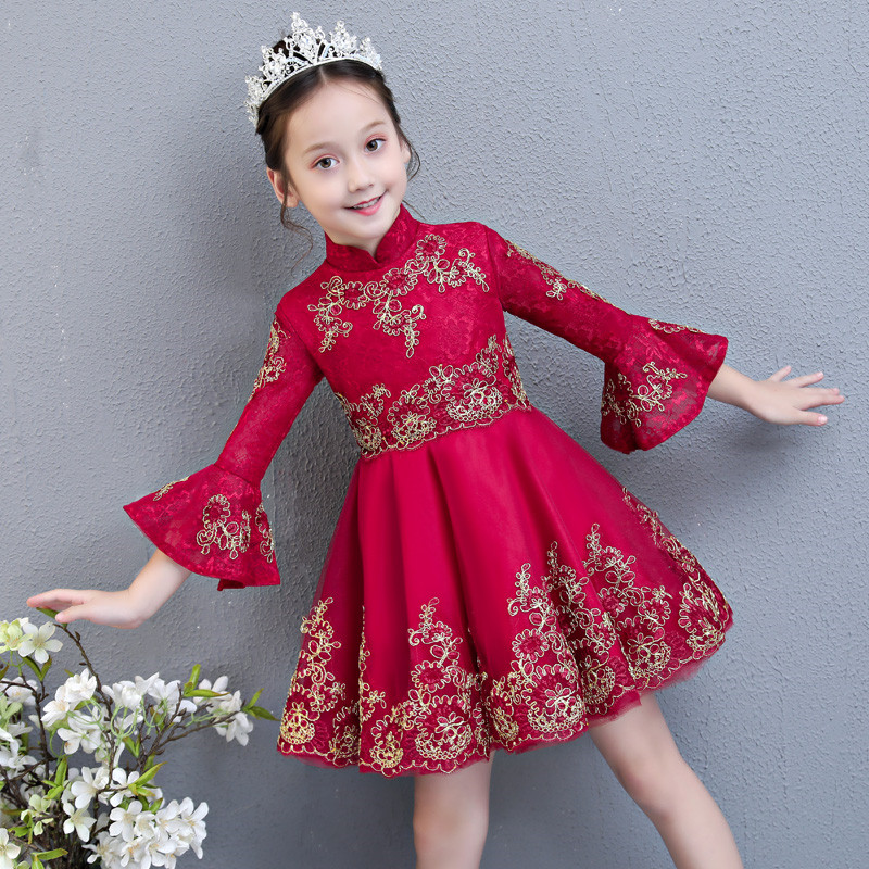 Girls Evening Party Princess Dress Kids Children Embroidered Formal Bridesmaid Wedding Birthday Christmas Ball Gown Lace Dress 2018new european luxury girls party princess dress kids embroidered formal bridesmaid wedding birthday christmas ball gown dress