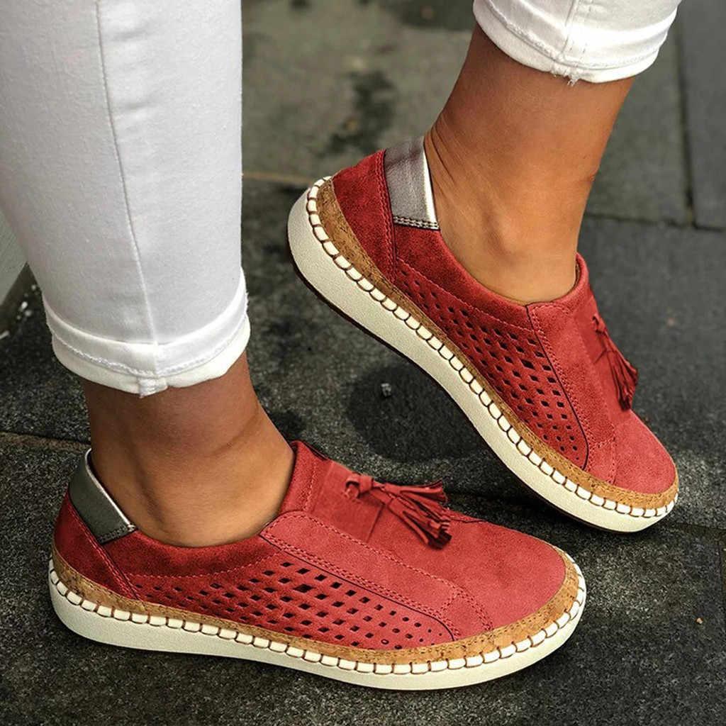Nữ Thời Trang Tua Rua Rỗng Ra Mũi Tròn Trơn Trượt Trên Giày Bằng Phẳng Với Giày Nữ Mềm Mại Breathble Mùa Hè giày C40 #