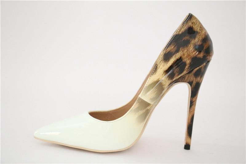 Femmes Léopard En Sexy Chaussures Designer 10cm Heels Cuir 12cm 12cm Blanc Femme Robe Heels Stiletto Hauts Verni Talons Sestito Pompes Marque Heels l13FKJTc