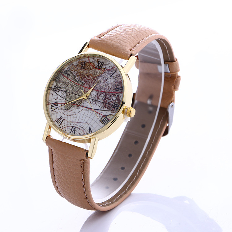 Retro Women's World Map Watches Mens Leather Band Simple Analog Quartz WristWatch Girl Ladies Casual Clock Relogio Feminino 2019