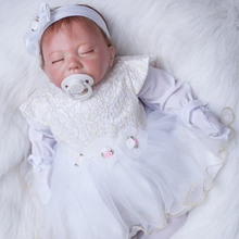 Adorable Sleeping Girl Baby Doll 20 Inch 50 cm Mohair Realistic Babies Dolls Cloth Body Real Touch Toy Kids Birthday Xmas Gift