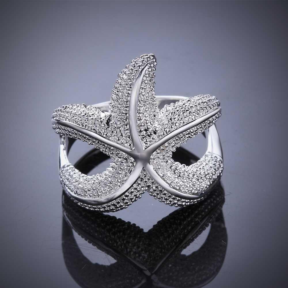 จัดส่งฟรี 925 ประทับตราแหวนเงินแฟชั่นเครื่องประดับ sea star hurge แฟชั่นปลาดาวรูปร่างผู้ชายแหวนผู้หญิง