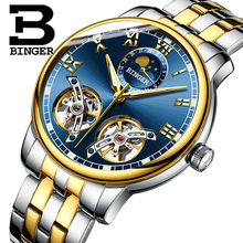 Relojes hombres lujo de la marca suiza BINGER zafiro Resistente Al Agua B-8607M-9 toubillon Mecánica Relojes de Pulsera de acero completo