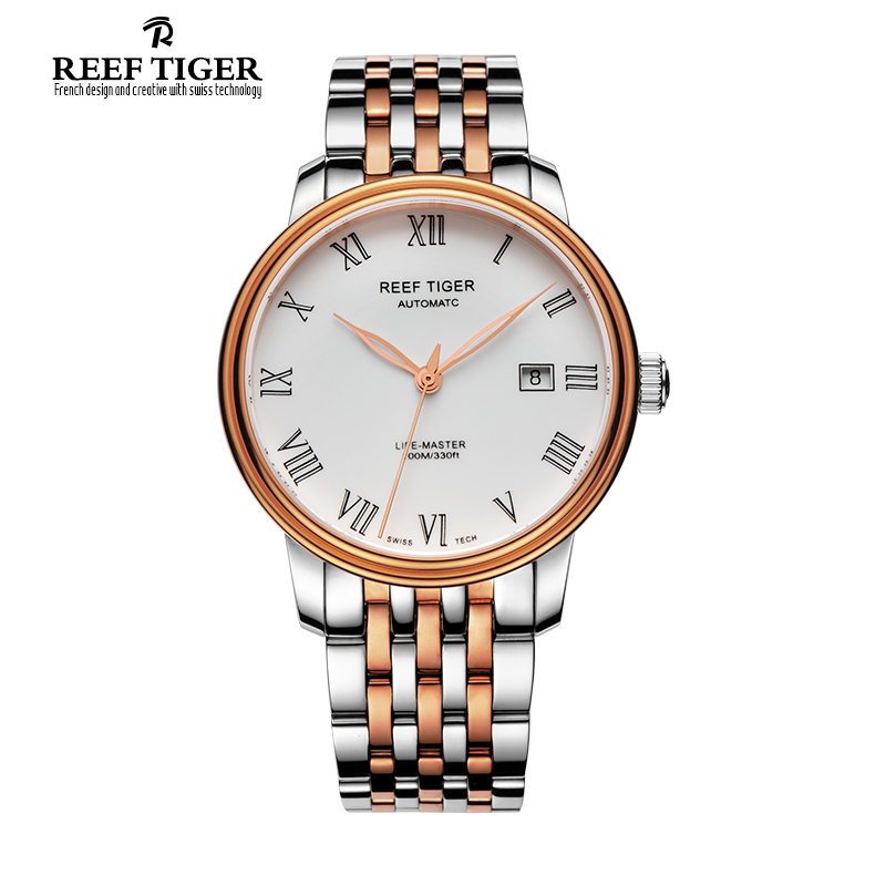 Reef Tiger/RT Famous Business Watch for Men Rose Gold Steel Watch with Date Dress Automatic Watches Roman Numeral RGA812 best selling reef tiger rt classic business watches for men rose gold steel automatic watch with date rga823