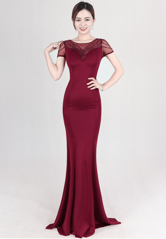 Vestidos 2019 nouvelles perles bordeaux longues robes de soirée manches courtes Mermiad robes de bal robes de bal robe de sor ee