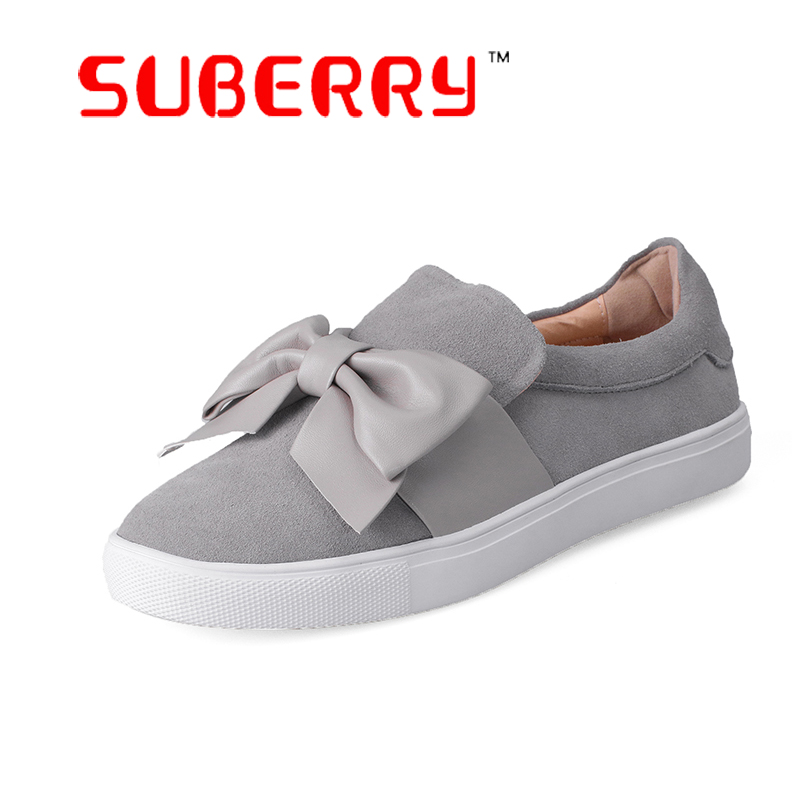 ФОТО SUBERRY 2017 Woman Shoes Handmade Genuine Leather Casual Shoes Round Toe Bow Slip On Flats Plus Size 43 Loafers Women Platform