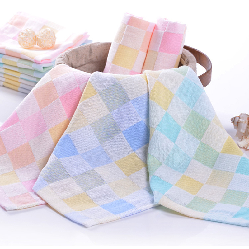 521277fdb3 Soft Comfortable Bibs Cotton Double Gauze Checkered Towel Baby Daily  Dedicated Feeding Face Bright Colors Small Square Washcloth ~ Super Deal  July 2019