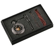 цена на Steampunk Hand Winding Mechanical Black Pocket Watch Fob Pendant Mens Womens Box Bag