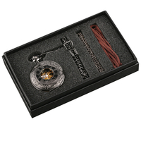 Steampunk Hand Winding Mechanical Black Pocket Watch Fob Pendant Mens Womens Box Bag
