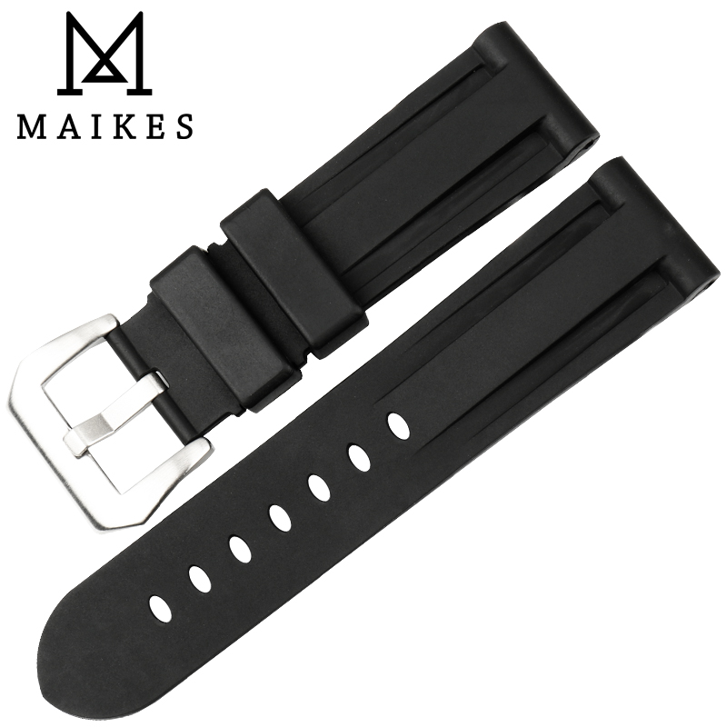 MAIKES Watch Accessories Rubber Watch Band 24mm Men Sport Watchbands Dive Watch Strap Watch Bracelet Case For PANERAI maikes new watch accessories watch strap red genuine leather 12mm 24mm watch bracelet watchbands case for casio watch band