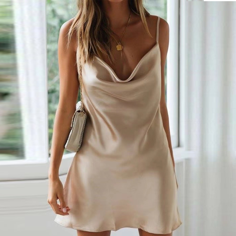 Tosheiny 2019 Women Sexy Off Shoulder Solid Color Draped Dresses Female Backless Satin Elegant Mini Dress DM0012