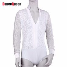 Men Latin Shirt Adult Latin Dance Tops Clothing For Dance Deep V-Neck Man Long Sleeve Dance Dress Waltz/Tanto/Rumba Dancewear