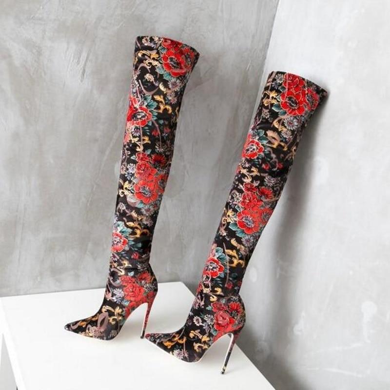 Taille Tissu Date Bout Extensible 46 Femmes Pointu Rétro Bas Eur Arrivée Grande Chaussures Picture Style Floral Bottes D'impression Broder As vwdfqagw4