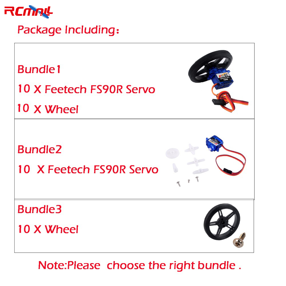 10PCS/lot Feetech FS90R Servo Micro 360 Degree Continuous Rotation RC Quadcopter For Robot Car Drones FZ0101-01