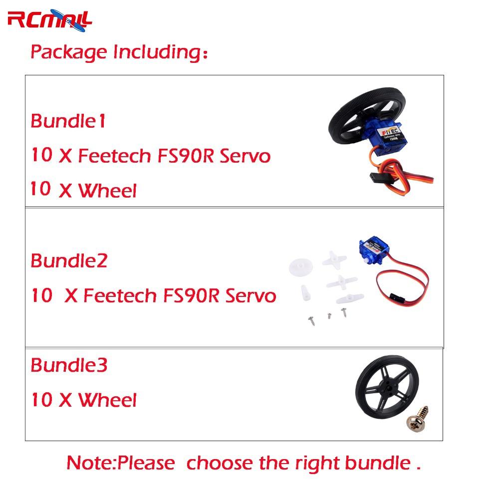10PCS/lot Feetech FS90R Servo/Wheel 360 Degree Continuous Rotation Micro RC Servo For Robot RC Car Drones FZ0101-01 FZ2913