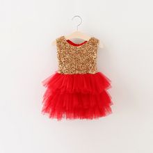 Toddler Baby Girl Dress Gold Sequin Infant Event Party Birthday Tutu Dress With Two Bow For Little Girl Formal Dress Age 0-2Y