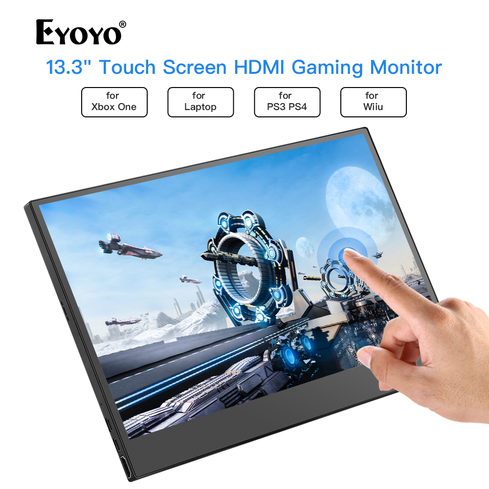 """Eyoyo 13.3"""" EM13K Portable 1920x1080 IPS Gaming Monitor compatible for Game Consoles PS3 PS4 Switch HDMI Monitor Mini PC Laptop"""