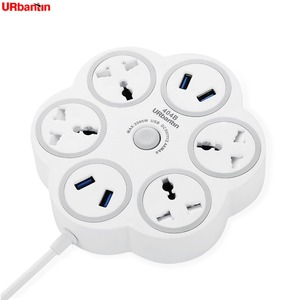 Image 1 - Urbantin 4AC Outlets 4USB Outputs Fast Charging Power Strip Smart Universal socket With Multinational Adapter Round Power Stri