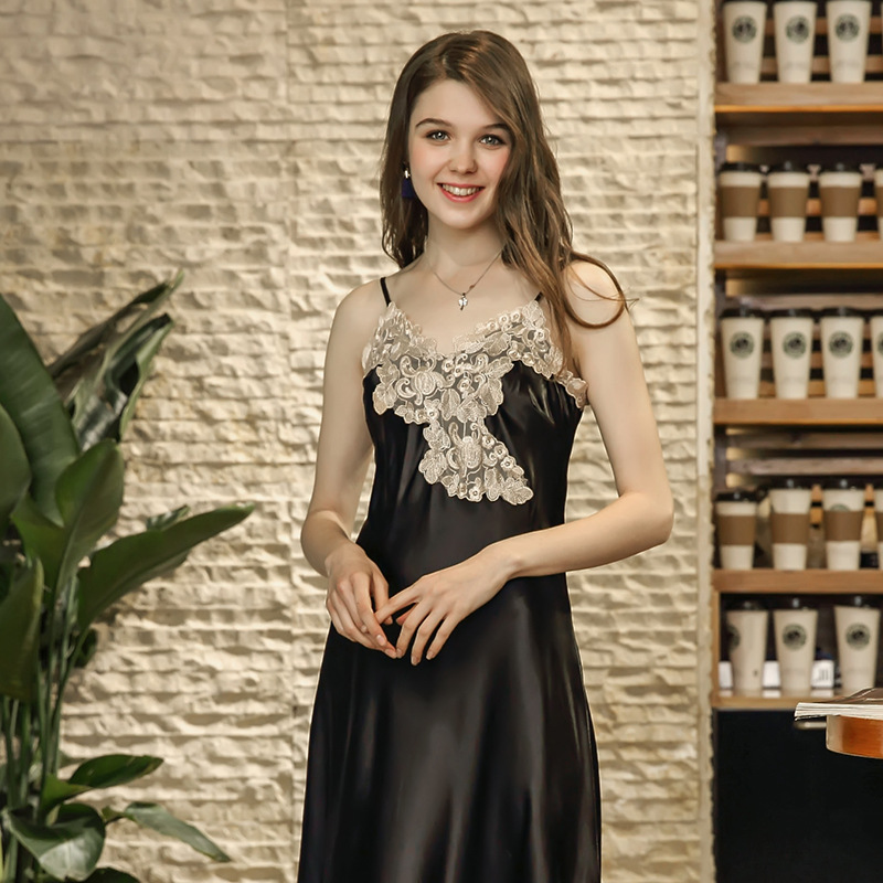 lace Sexy Emulation Silk Nightdress Women Nightwear Female Sleepwear Sexy Nightdress Babydoll Dress Long Satin Nightgown