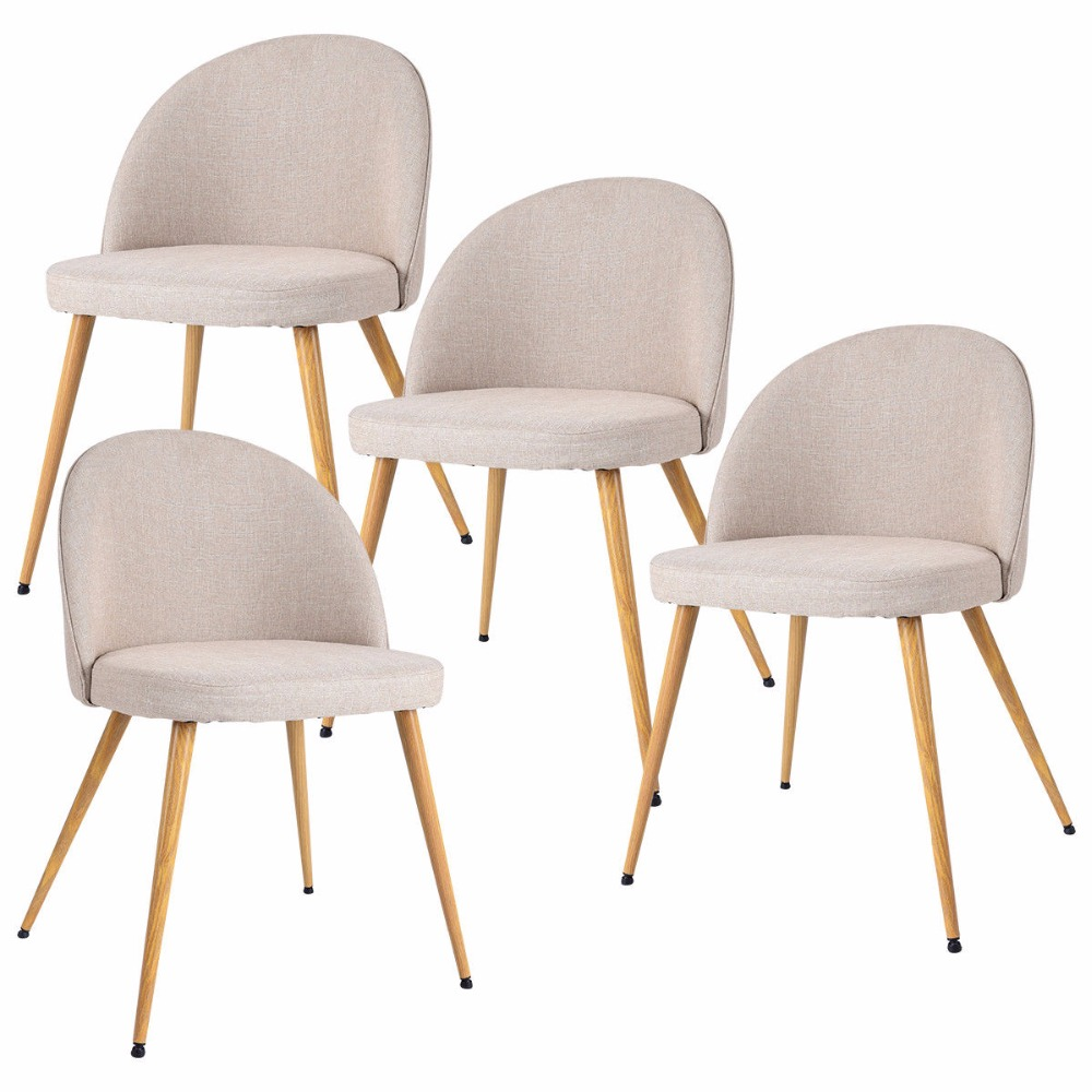 Goplus Set of 4 Fabric Cushion Seat Accent Arm Chair Modern Dining Chair Metal Leg Living Room Kitchen Furniture HW56676 free shipping dining stool bathroom chair wrought iron seat soft pu cushion living room furniture