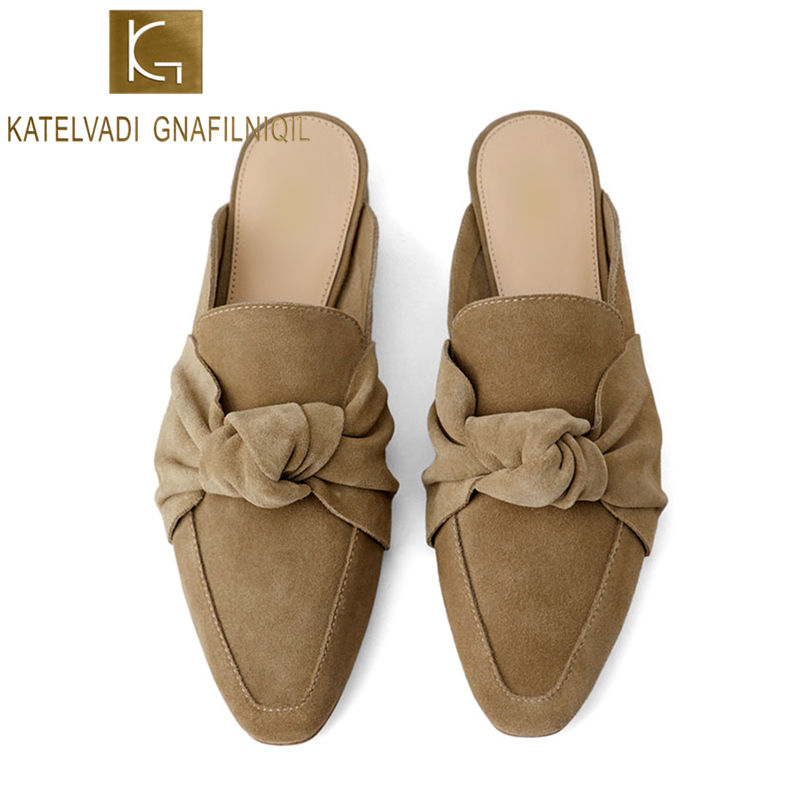 KATELVADI Summer Flats Mules Lady Sandals Slippers Flock Slip On Women Mules Outdoor Slipper Shoes Woman Slides K 383