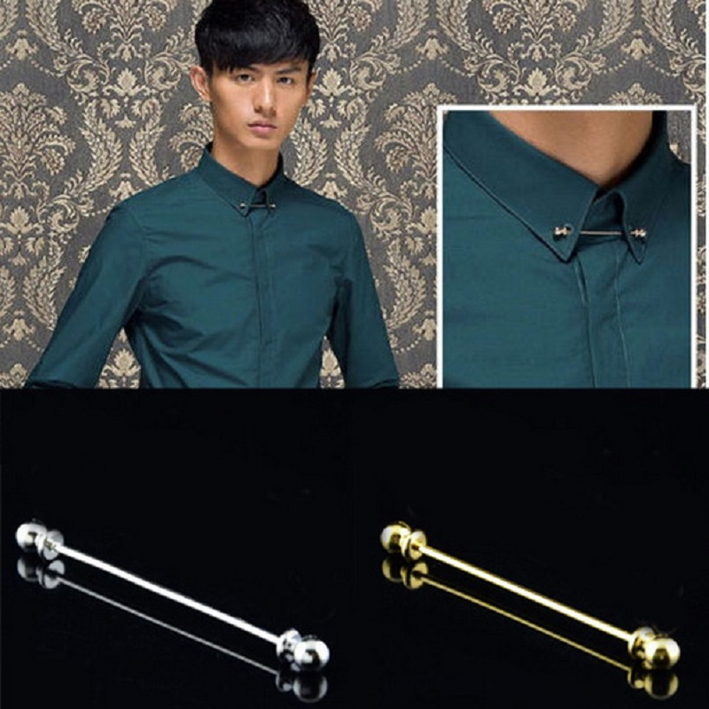 Cindiry 6.5cm Tie Clips For Men Stainless Steel Gold Silver Collar Pin Men Brooch Tie Collar Pin For Skinny Tie Shirt P2 tie sleeve skew collar t shirt