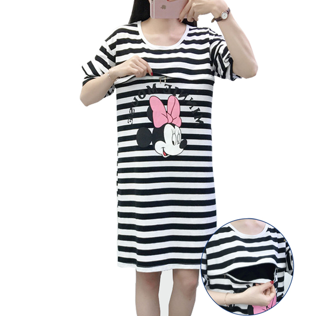 52deb94048f2c Plus Size Dress 4XL Contrast stripe Cartoon Ruffles Sleeve Breastfeeding  Dress Pregnancy Clothes Summer Maternity Clothes -in Dresses from Mother &  ...