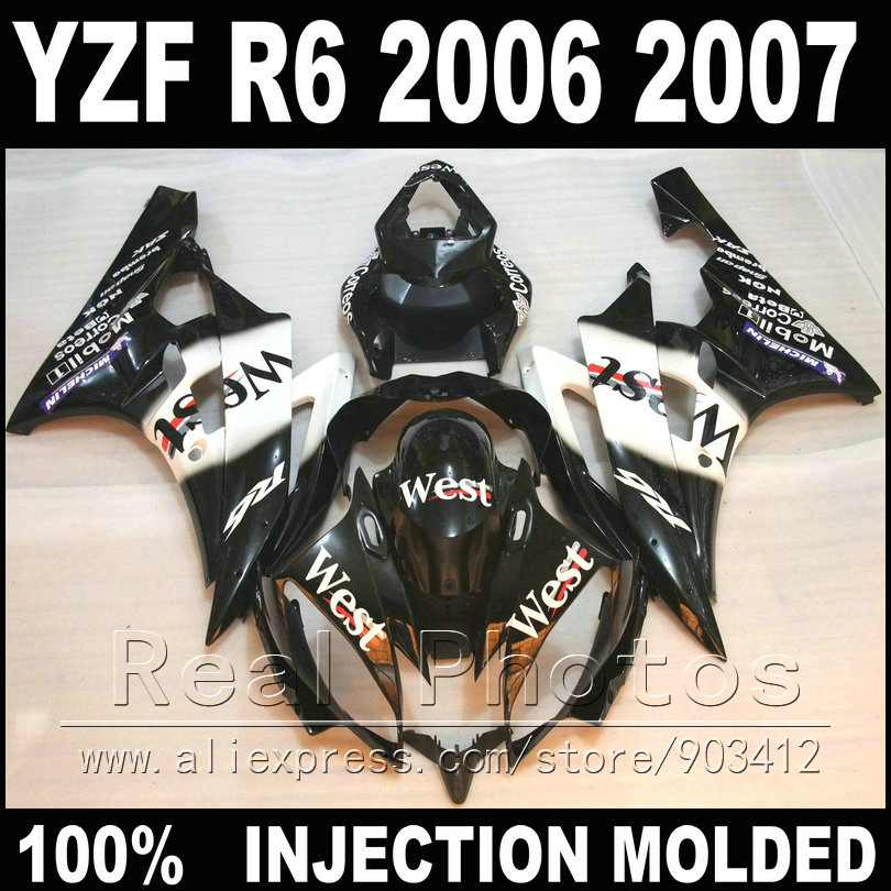 100% Fit bodywork for YAMAHA R6 fairing kit 06 07 Injection molding west white in black 2006 2007 YZF R6 fairings injection molding hot sale fairing kit for yamaha yzf r6 06 07 white red black fairings set yzfr6 2006 2007 tr16