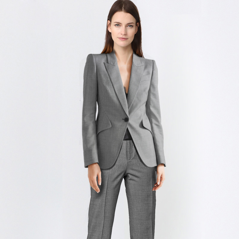 Women Double Breast Blazer Suits Office Lady Sets Two-piece Work Set Long Sleeve Lotus Suit Jacket & Straight Pant Outfits 2018