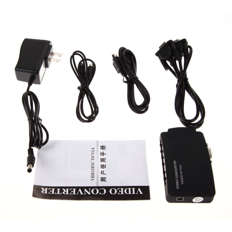 PC Laptop Composite Video TV RCA Composite S-Video AV In To PC VGA LCD Out Converter Adapter Switch Box