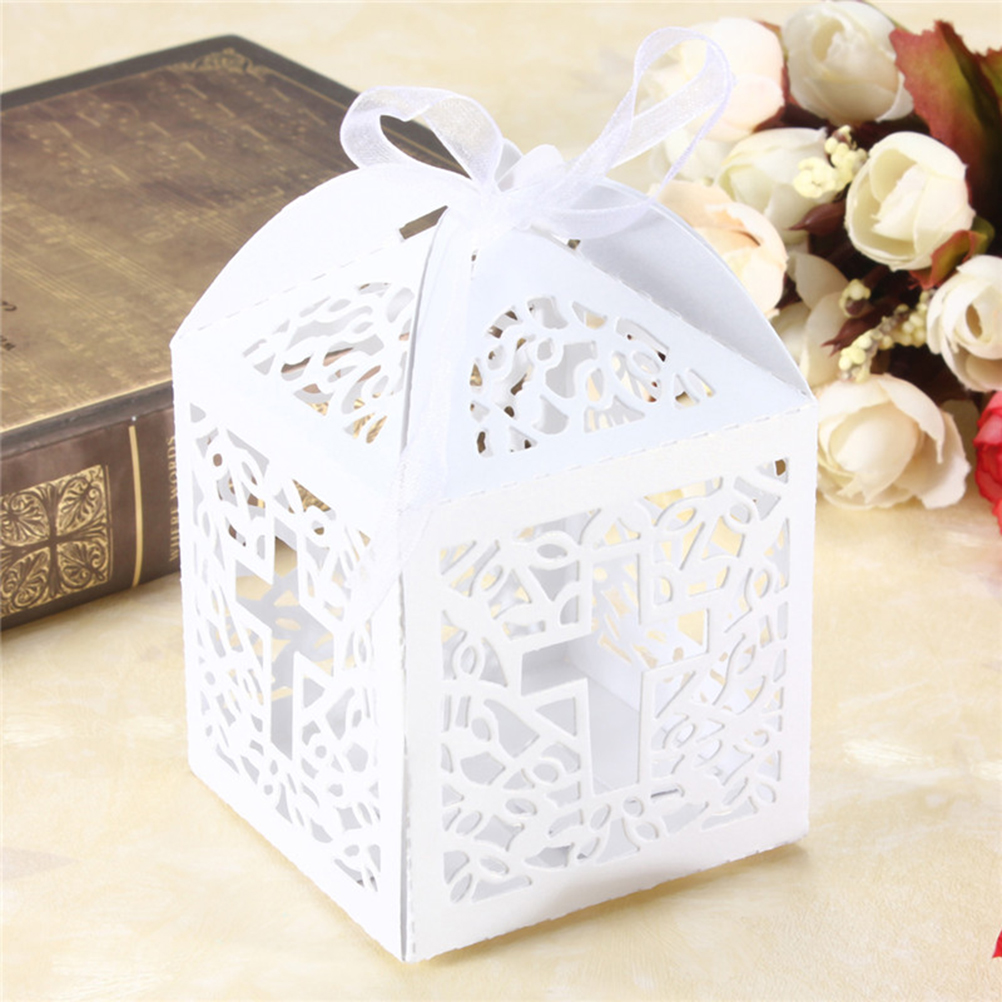 10pcs Wedding Party Favor Cross Paper Candy Gift Boxes With Ribbon ...