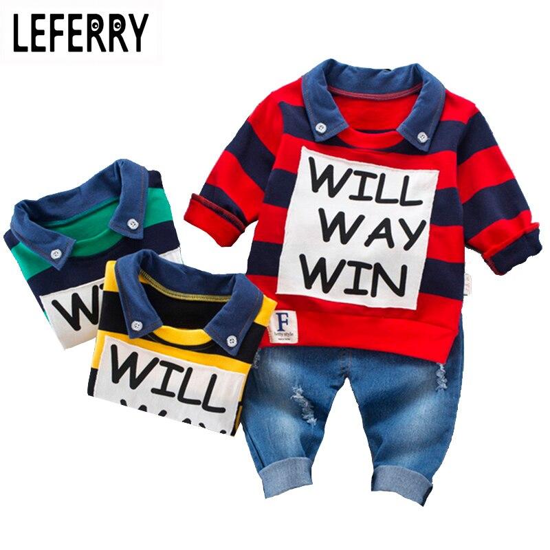 Комплект детской одежды для мальчиков рубашка поло в полоску + Джинсы для женщин корейская детская одежда Комплект одежды для маленьких мальчиков с принтом букв