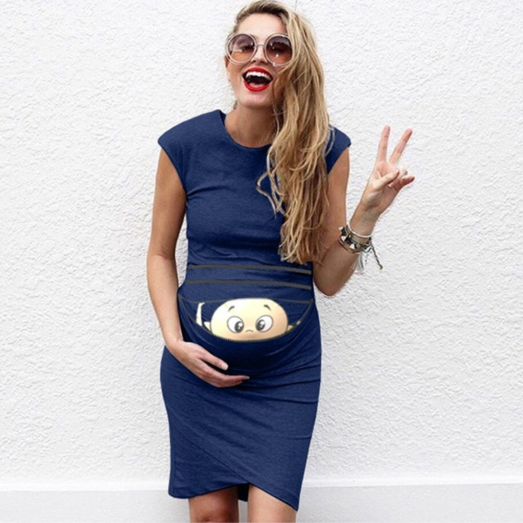 Summer Dresses For Pregnant Women maternity dresses Baby Print Pregnant Maternity Maternity Props Bodycon Casual Dresses 2019 2