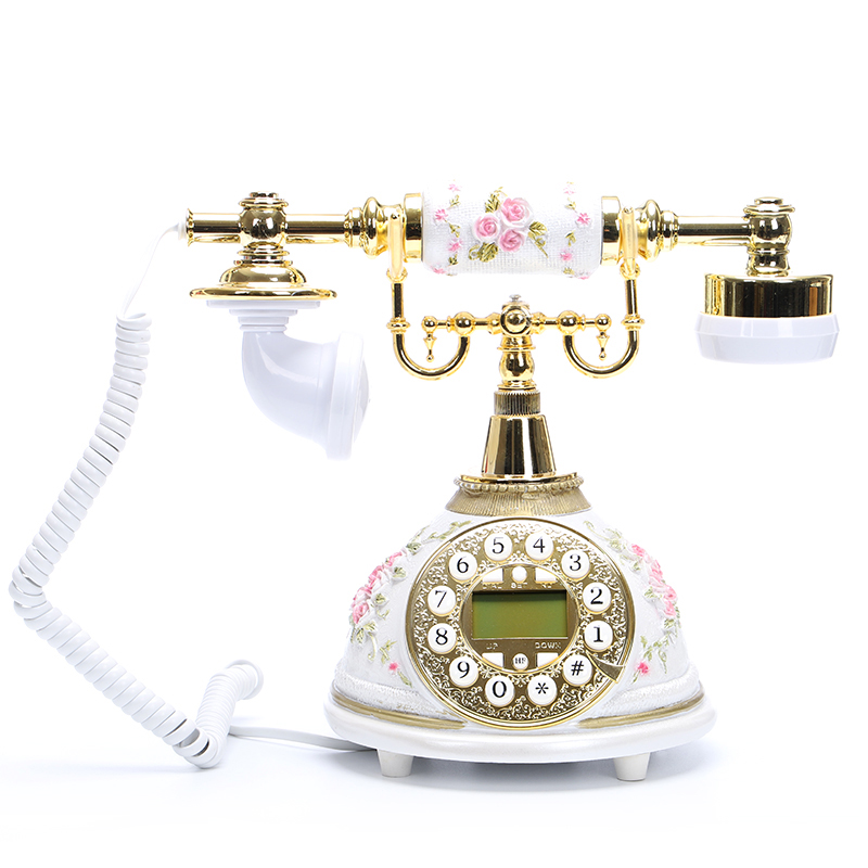 FSK DTVE Retro Vintage Antique Telephones With Engraving Flowers Call ID Redial Adjust Ringtone Landline Telephone For Home