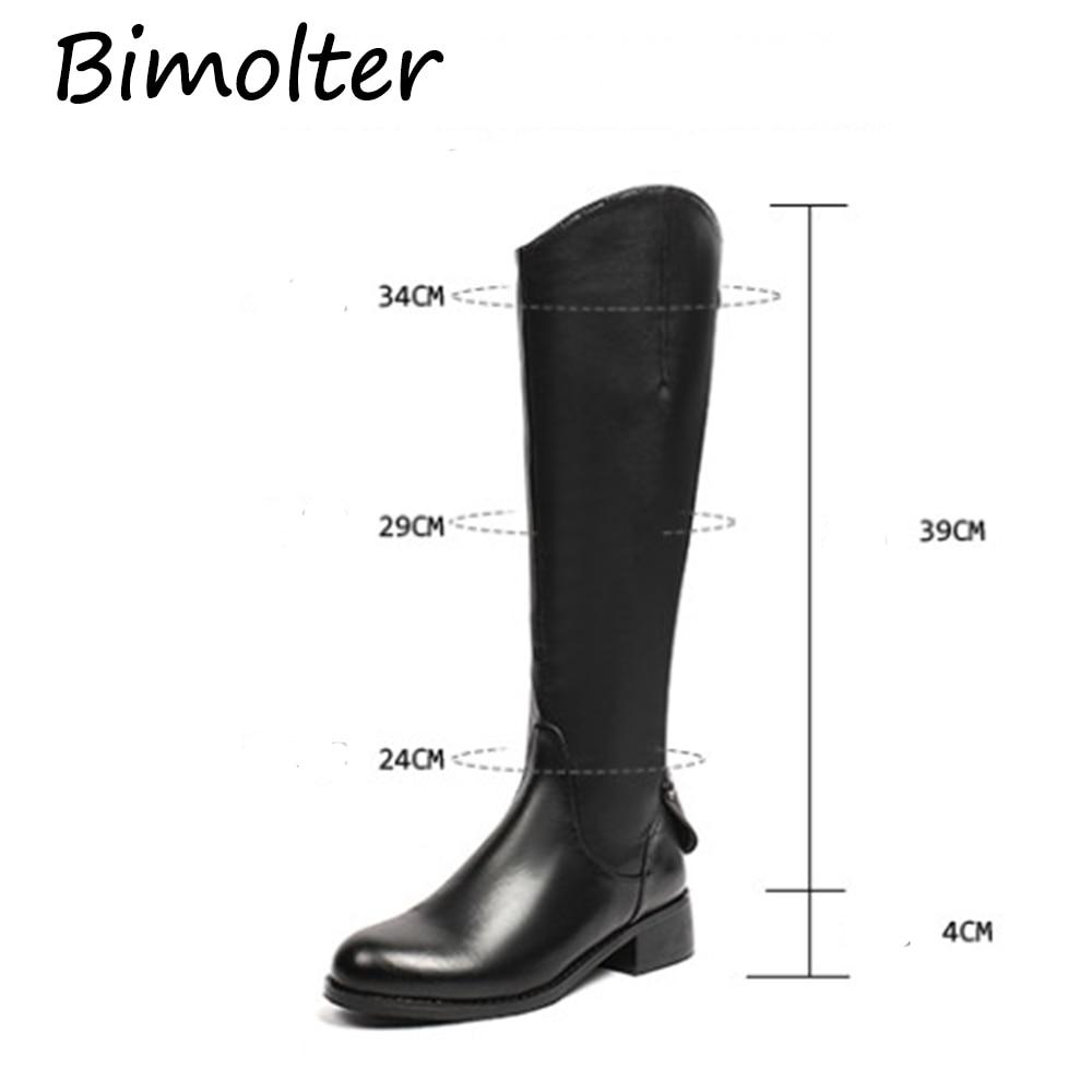 Confortable Supérieure Souple Na018 D'hiver Qualité Cuir Véritable Black Mi Genou Bimolter Chaussures Haute Bottes Longues mollet Femmes En 8OnwvmN0