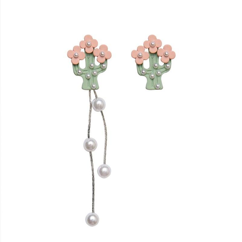925 Silver Fashion Sweet Cactus Flower Drop Earrings Cute Simple Pearl Asymmetric Long Tassel Dangle Earring for Women Jewelry
