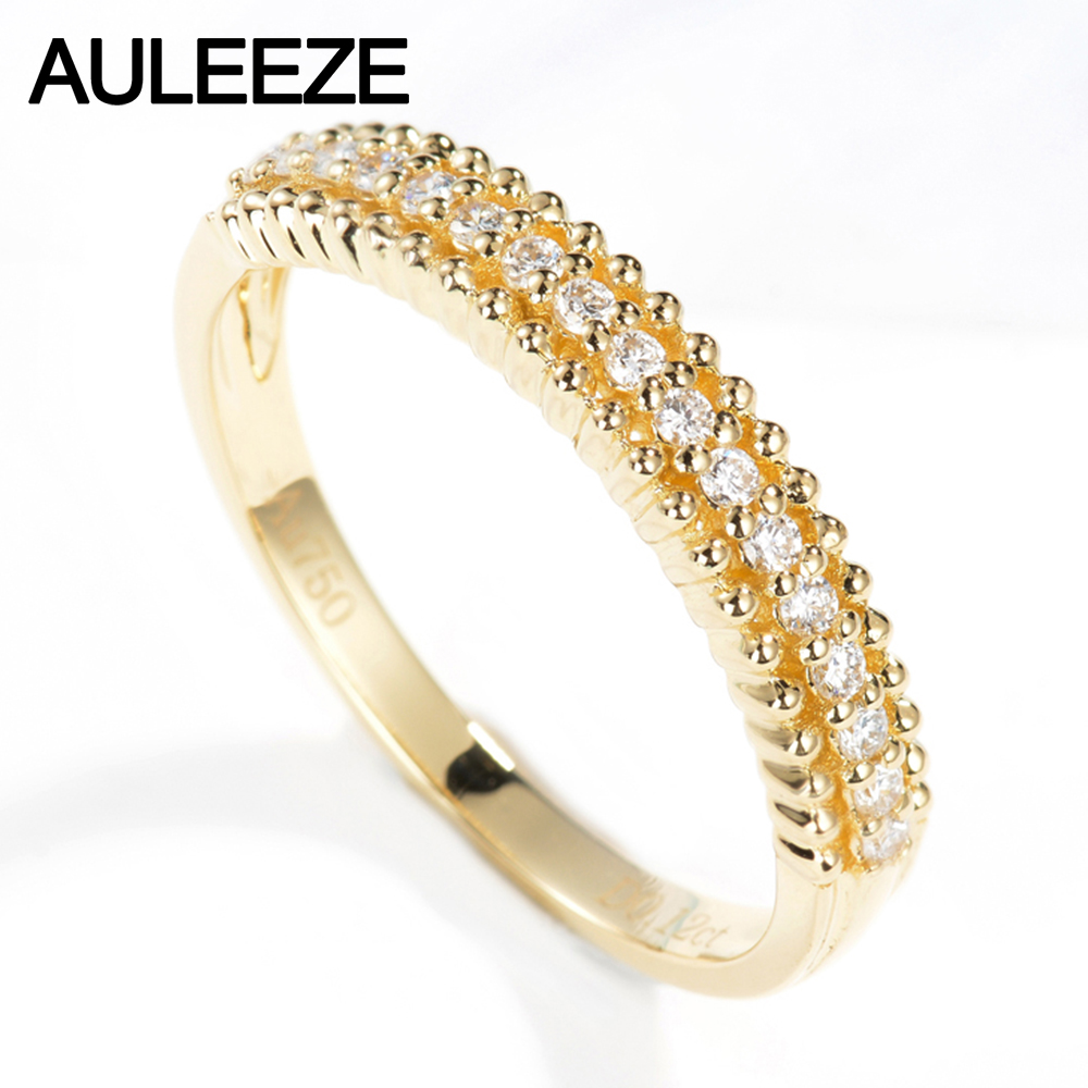 Auleeze 18k Yellow Gold Ring 012cttw Real Diamond Engagement Wedding Ring  Classic Match Anniversary Natural Diamond Gold Ring
