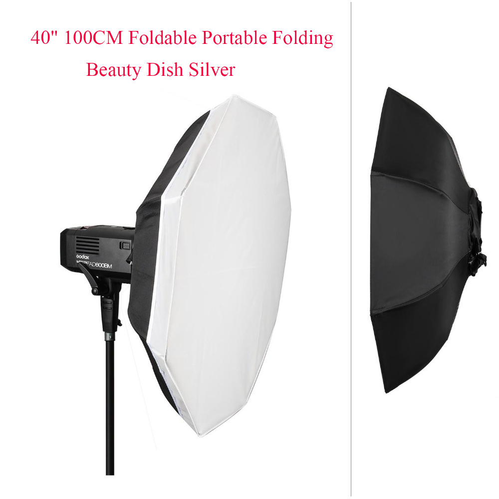 40 100CM Foldable Portable Folding Beauty Dish Silver for Godox AD600B AD600BM Collapsible Beauty Dish Octagon,Softbox diffuser fotopal flash diffuser 40 100cm foldable portable folding beauty dish silver softbox with bowens mount reflectors photography