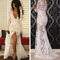 Sexy V-Neck Thigh-High Slits Long Illusion Sleeves Evening Dresses See-through Plunging Neckline Sheer Skirt Lace Evening Gowns